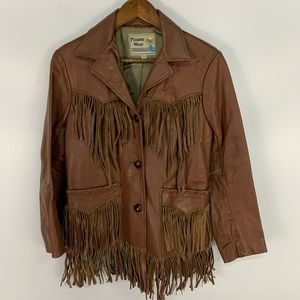 Vintage Pioneer Wear Leather Fringe Western Jacket